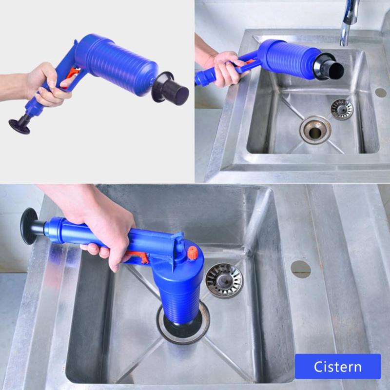 Air Power Drain Blaster Gun High Pressure Powerful Manual Sink Plunger Opener Cleaner Pump For Bath Toilet Bathroom Accessories