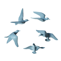 5pcs Home Decorative Resin 3D Handmade Flying Seagull Birds Wall Art Sculpture Hanging Decor Blue