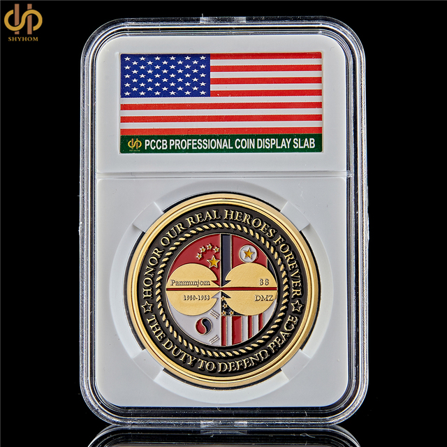 US $8 1 10% OFF|1950 1953 Korean War veteran Honor Our Real Gold Challenge  Coin US W/ PCCB Holder-in Non-currency Coins from Home & Garden on