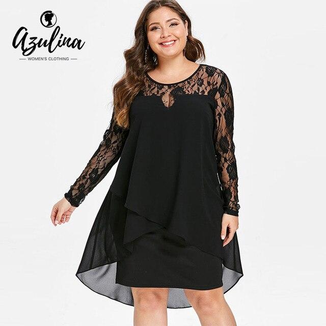 AZULINA Plus Size Sheer Lace Sleeve High Low Hem Dress Casual O Neck Long  Sleeves Asymmetrical Women Dress Vestido 2019 Clothing f023a0cbd735