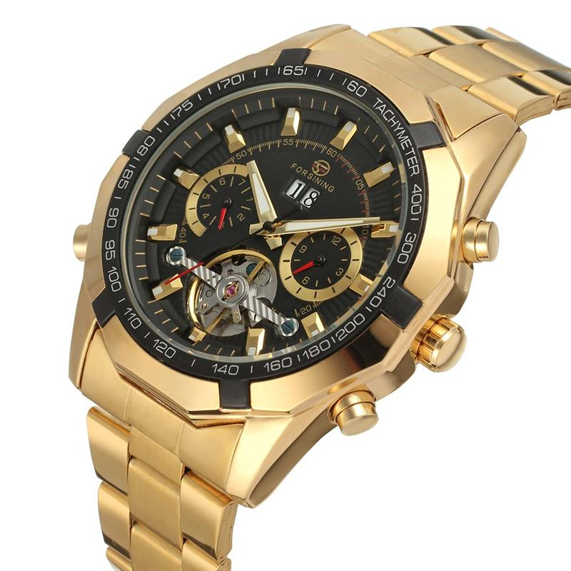 Forsining 2019 New Collection Transparent Case Golden Stainless Steel Skeleton Luxury Design Men Watch Top Brand Automatic WatchForsining 2019 New Collection Transparent Case Golden Stainless Steel Skeleton Luxury Design Men Watch Top Brand Automatic Watch