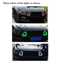 ABS Matte Black Grille for Ford Mustang Front Mash Grill With Light White Green Red Color 2015 2017