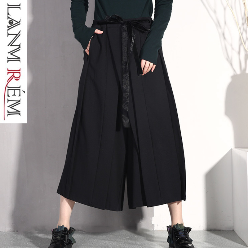 LANMREM 2019 Female New Spring Summer Elastic High Waist Pleated Bandage Patchwork   Wide     Leg     Pants   Women Fashion Trousers JO579