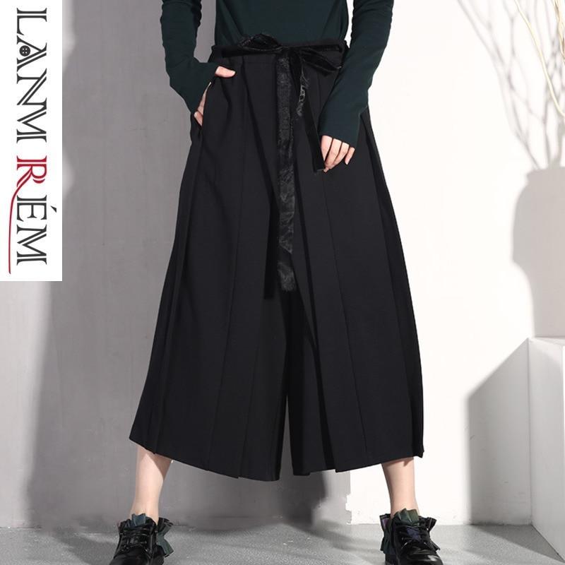 LANMREM 2019 femme nouveau printemps été élastique taille haute plissé Bandage Patchwork jambe large pantalon femmes mode pantalon JO579