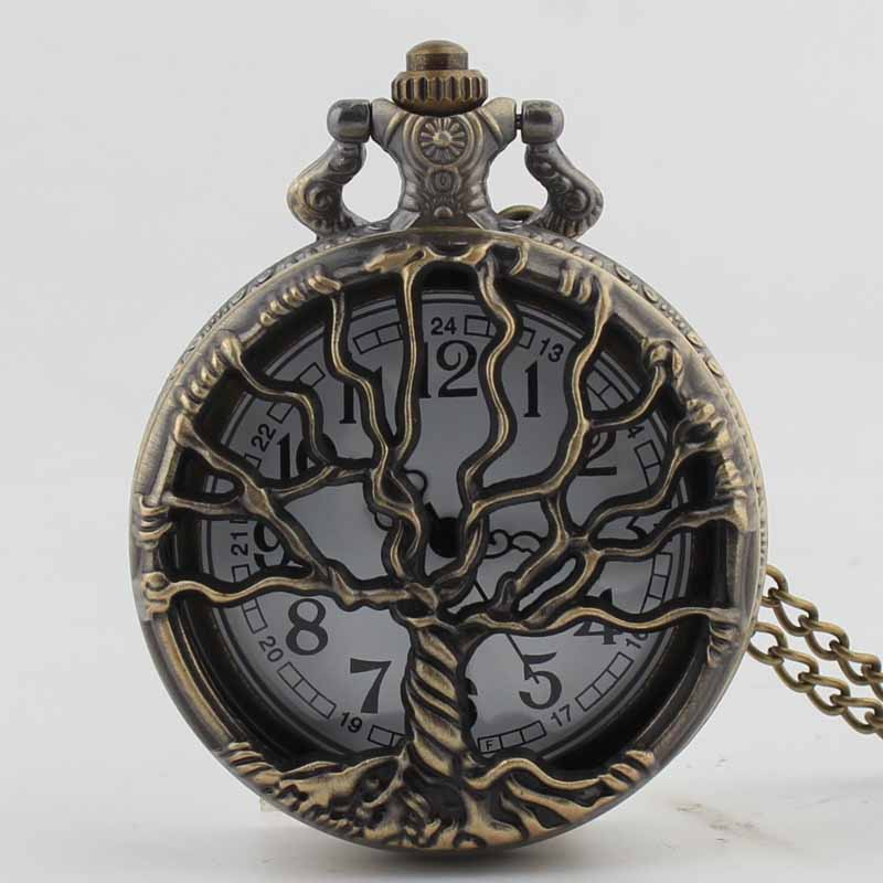 Pocket & Fob Watch Bronze Hollow Out Life Tree Quartz Pocket Watch Necklace Pendant Watch Chain Xmas Watch Gift Men/Women
