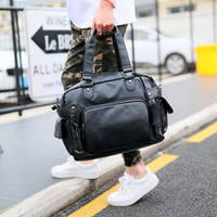 high quality tote Bag men leather handbag vintage brown black Large casual Messenger crossbody bags for men Bag hand bag 2019