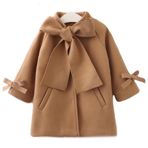 Toddler Kids Baby Girls Warm Wool Bowknot   Trench   Coat Overcoat Outwear Jacket Support wholesale