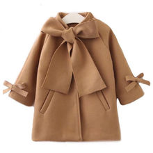 Toddler Kids Baby Girls Warm Wool Bowknot Trench Coat Overcoat Outwear Jacket Su