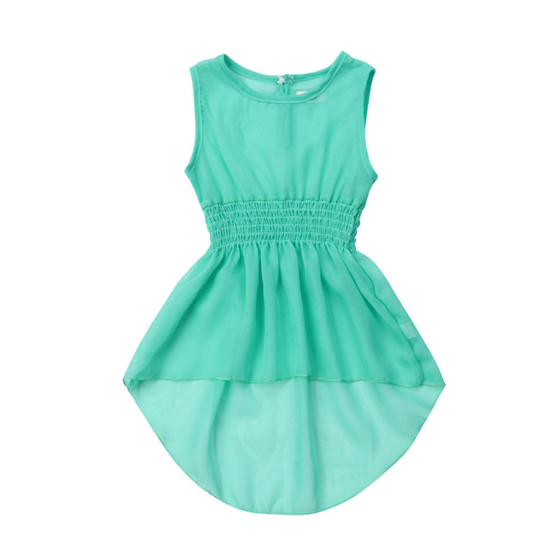 Boho Baby Girl Chiffon Dress Summer Solid Candy Color Princess Dresses Sleeveless Knee Length Vest Pageant Party Tutu Dress 0-5Y day dress