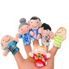 6 pcs/lot Finger Family Puppets Set Mini Plush Baby Toy Boys Girls Educational Story Hand Puppet Cloth Doll Toys