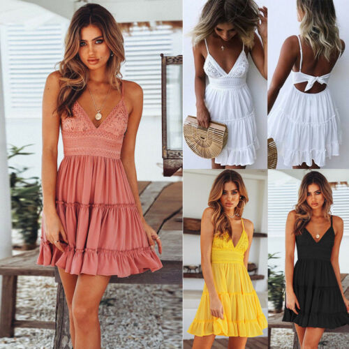 2019 New Women Summer Black Backless Layers Sweet Boho Short Mini Dress V Neck High Waist Evening  Party Beach Dresses Sundress 2