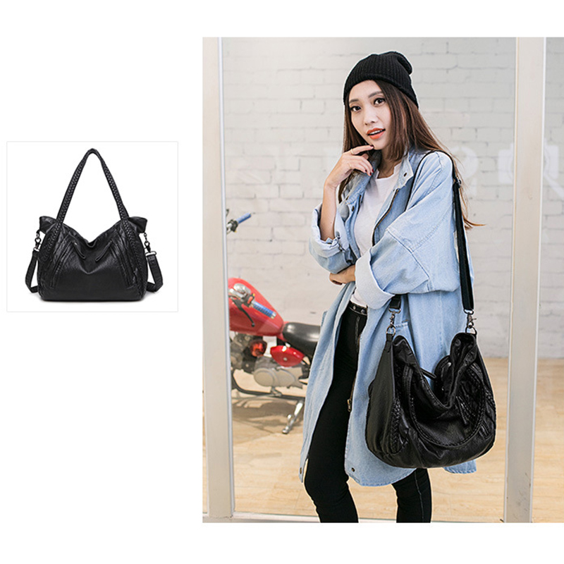 Big Capacity Women Handbags Soft Leather Lady Tote Bag Woven Pattern Shoulder Bag, Black Small