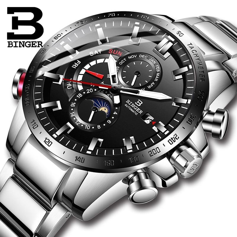 Suisse BINGER montre hommes automatique mécanique de luxe marque hommes montres saphir hommes montre étanche relogio masculino B8-1