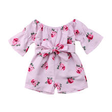 4c28faf5c9da Toddler Baby Girl Clothes Floral Romper Jumpsuit Overalls Off Shoulder  Flare Sleeve Sunsuit Summer Clothes Playsuit Outfits 0-5T