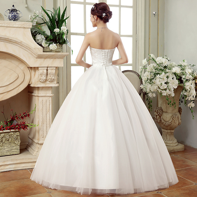 Image 3 - Cheap Wedding Dresses China Elegant White Ball Gown Sweetheart Lace Beaded Backless Wedding Dress 2019 Vestidos De Matrimonio-in Wedding Dresses from Weddings & Events