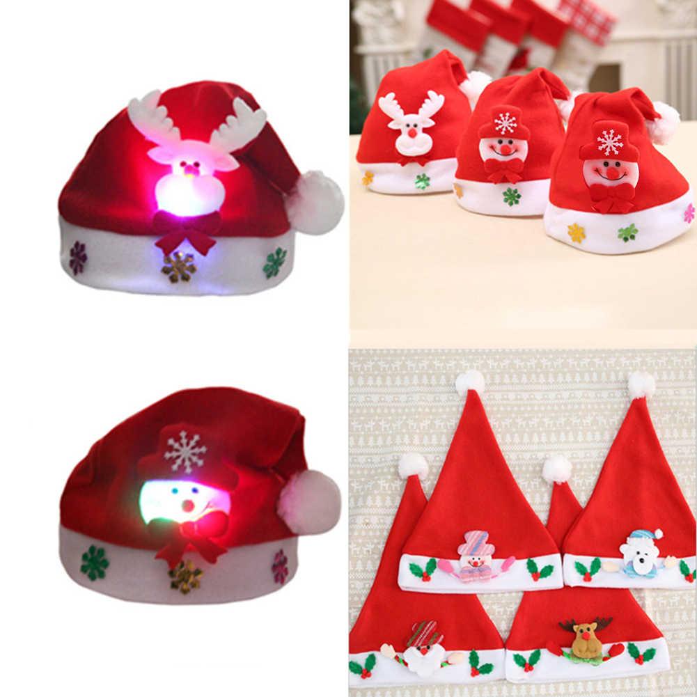 Lucu Natal Lampu LED Topi Kartun Rusa Elk Snowman Xmas Topi untuk Dewasa dan Anak-anak