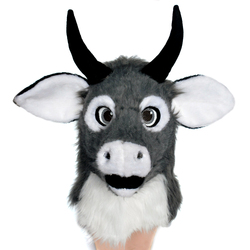 Cartoon Bull Head Maskers Voor Party Koe Moving Mond Masker Halloween Met Mover Mond