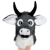 Cartoon bull head masks for party Cow moving mouth mask Halloween with mover mouth