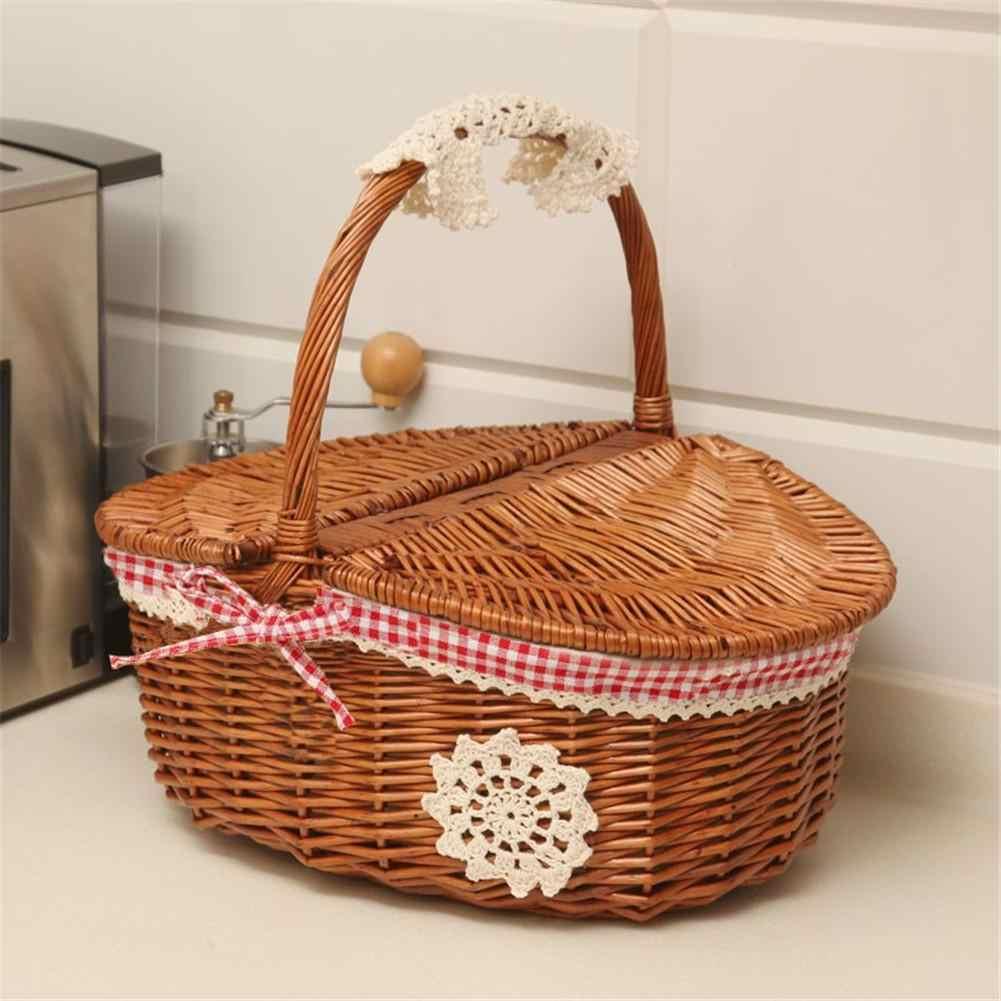 c787a06a9a5b4 Ручная работа плетеная корзина плетеная походная Корзина для пикника корзина  для покупок и ручка деревянная цветная