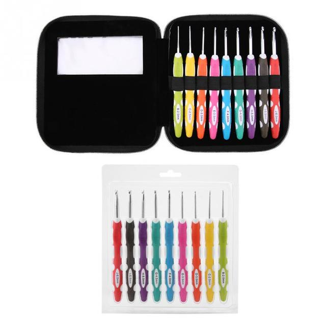 9 шт. набор крючков для вязания гладкие иглы инструменты эргономичный набор крючком чехол для домашнего использования швейные инструменты