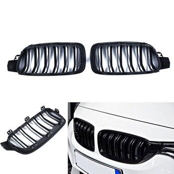 Độ bóng Đen Đôi Vây Trước Kindey Dạng Lưới Tản Nhiệt Cho XE BMW F30 F31 2012 2013 2014 Bộ 3 Trái & Phải Bên phía Trước xe hơi Nướng Trang Trí