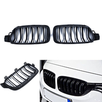 Gloss Black Twin Fins Front Kindey Grille For BMW F30 F31 2012 2013 2014 3 Series Left & Right Side Car Front Grill Decoration