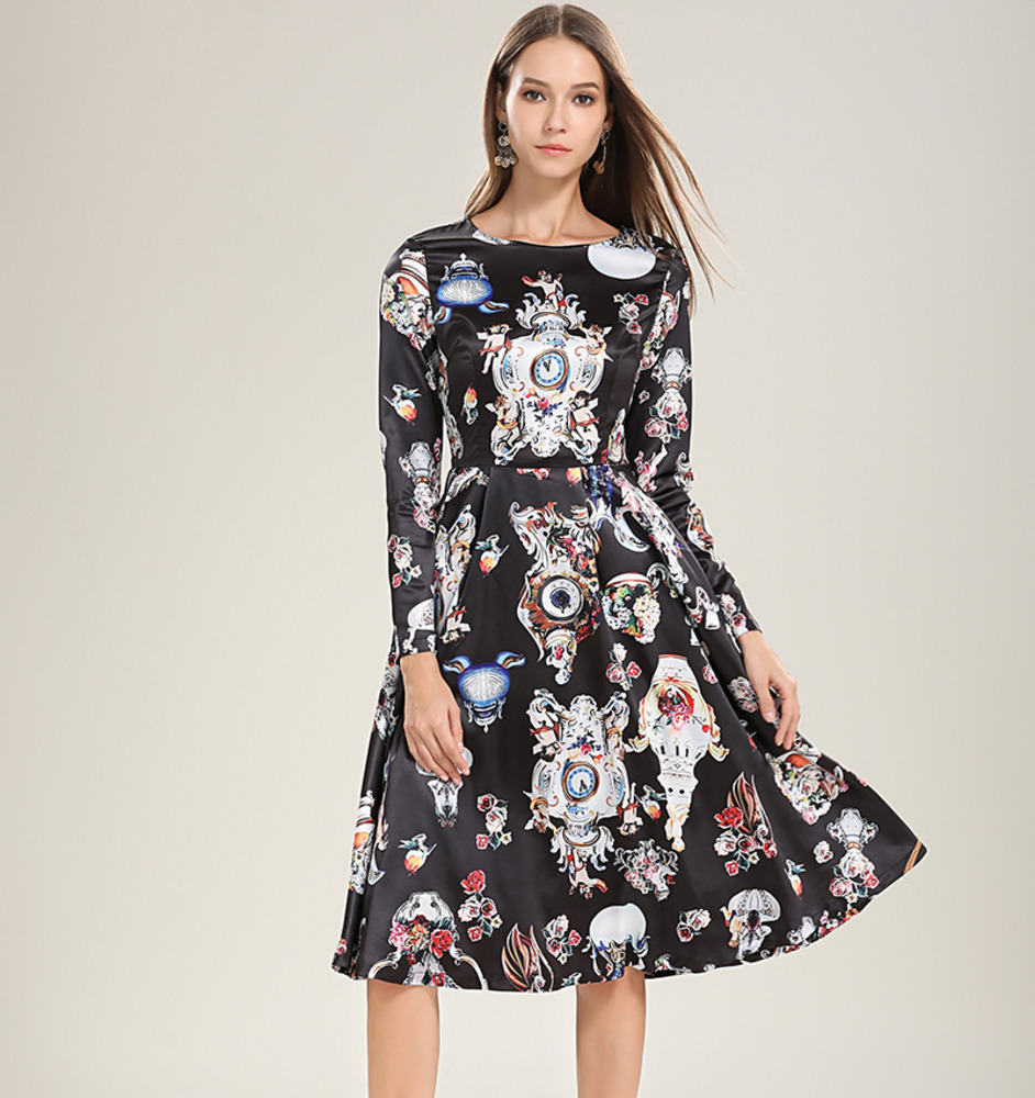 2019 Spring Summer Women Dresses Runway Designer Angel Long Sleeve Black Silk Dress Party Elegant Floral Watches Clocks Print silk