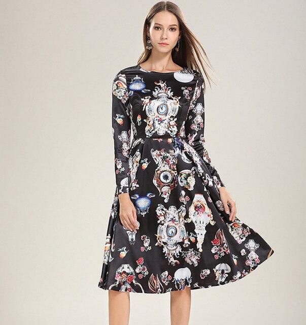 44296c1a56e 2019 Spring Summer Women Dresses Runway Designer Angel Long Sleeve Black  Silk Dress Party Elegant Floral Watches Clocks Print