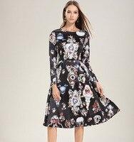 2019 Spring Summer Women Dresses Runway Designer Angel Long Sleeve Black Silk Dress Party Elegant Floral Watches Clocks Print