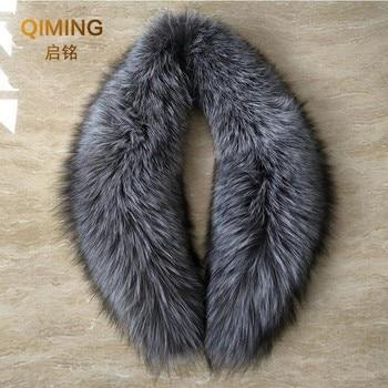 Fox fur scarf shawl genuine fur hooded collar gift gray silver fox fur collar scarf real collar fur collar 80 cm L20 фото