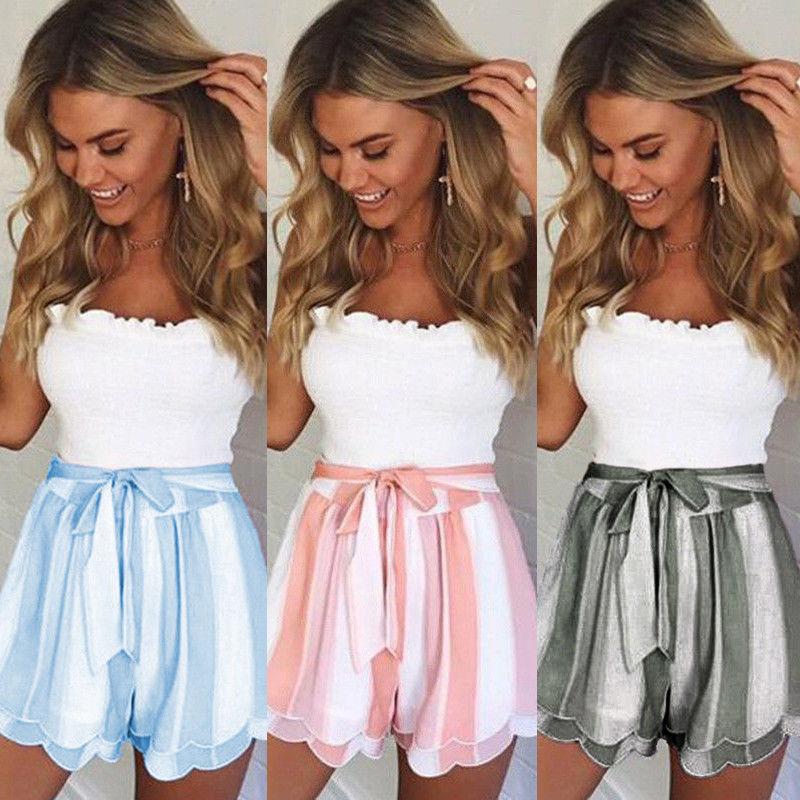 Sexy Sashes Women   Shorts   skirts Summer New High Waist Solid loose   Shorts   Casual   Shorts   Elastic Waist Streetwear Wide Leg   Shorts