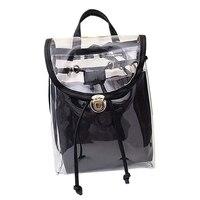 Женская 2 в 1 ясно Мода Рюкзак Прозрачный Путешествия Пляж сумка на плечо