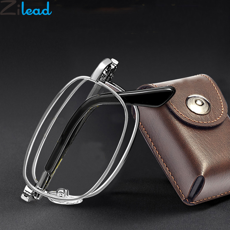 Zilead Portable Metal Foldable Reading Glasses Ultralight Men Business Presbyopia Glasses Eyewear With Random Case +0.5to+4.0