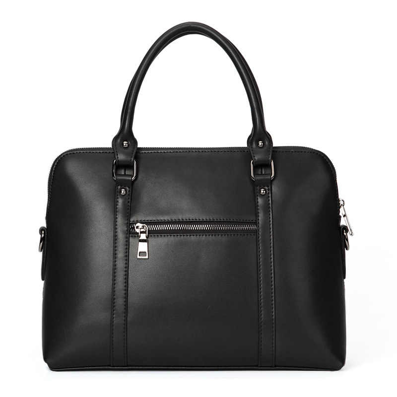جلد طبيعي أسود المرأة حقيبة يد حقيبة أعمال حقيبة المرأة 14 بوصة حقائب الكمبيوتر المحمول الإناث جلد البقر الماس شعرية حقيبة