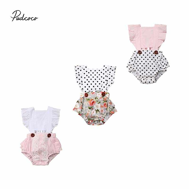 51e0011b20c 2019 Brand Newborn Infant Baby Girl Clothes Splice Fly Sleeve Cute Dot Lace  Floral Bodysuit Jumpsuit