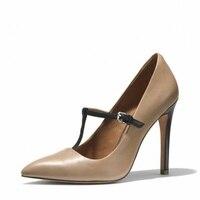 Модные женские туфли лодочки из искусственной кожи с Т образным ремешком на шпильках темно бежевого цвета, модель 2019 года, пикантные офисны