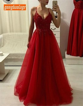 New Red Long Evening Dress Party Sexy Spaghetti Strap Beaded Appliques Cheap Prom Gown 2019 Custom Made Special Occasion Dresses