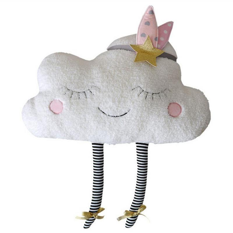 Baby Romantic Clouds Pillow with French Words Plush Toys Cute Cartoon Clouds Pillow Cushion Baby Kids Room Decor Dolls O3