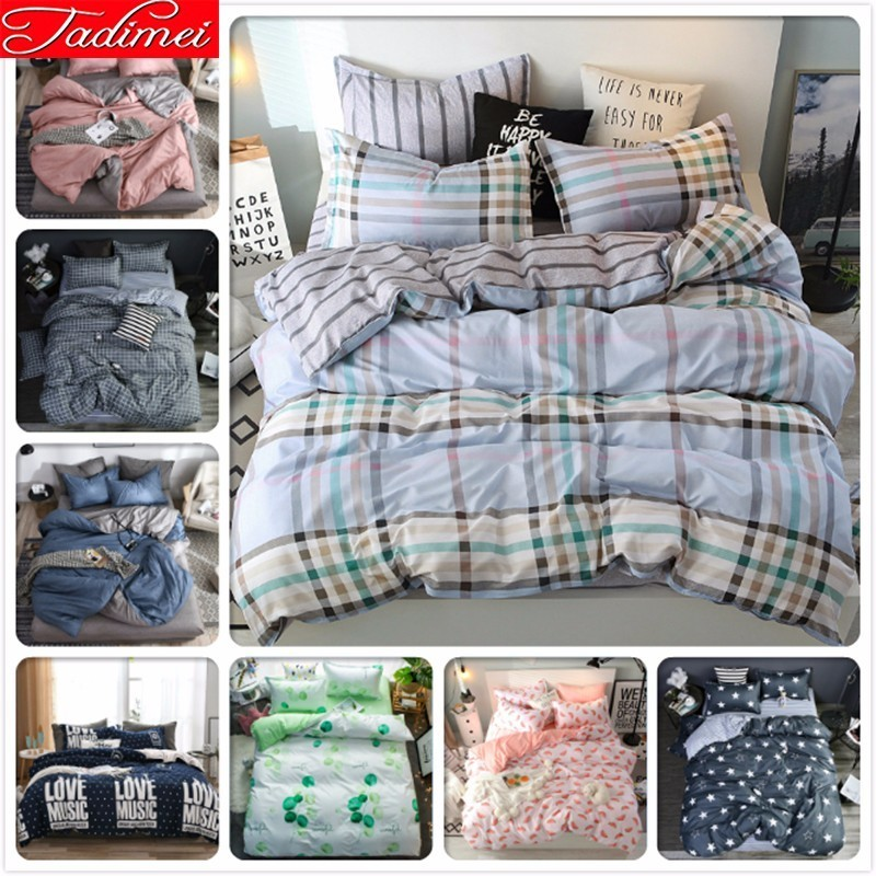 Concise Plaid Classical Duvet Cover Bedding Set Adult Kids Boy Soft Cotton Bed Linen Single Twin Queen King Size Bedspread Sheet