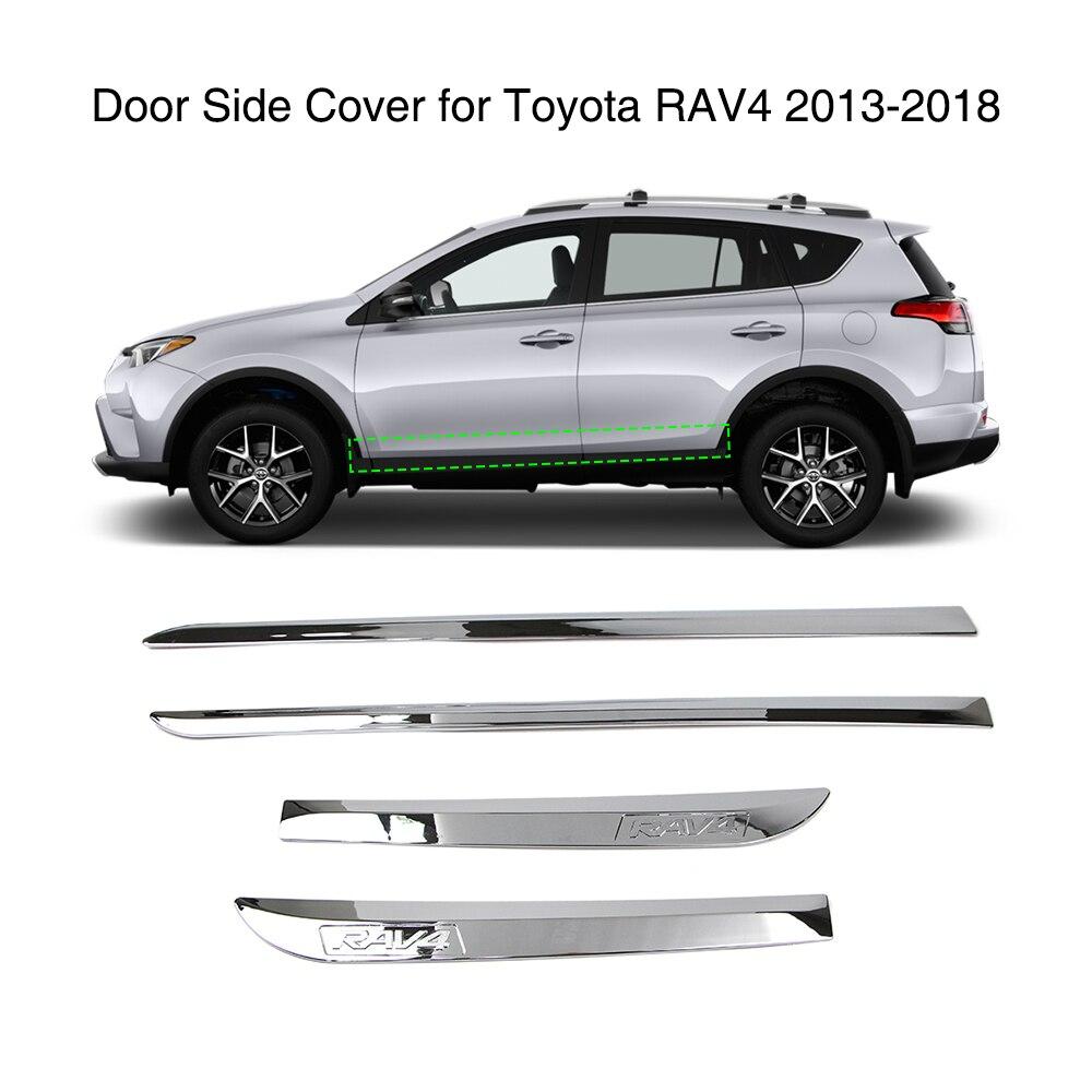 ABS Chrome Side Door Body Molding Trim 4PCS For Toyota RAV4 2013-2015