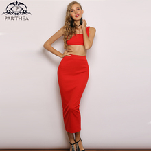 Parthea Summer Pink Dress Two Piece Sleeveless Tight Sexy Women Long Party Green Holiday Style Casual Pencil