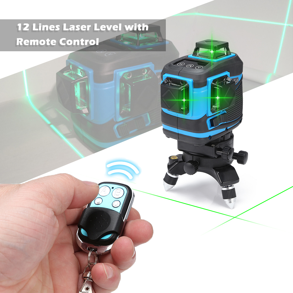 12 Lines 360 Self leveling Laser Level Meter with Remote Control Portable mini Cross Laser Levels