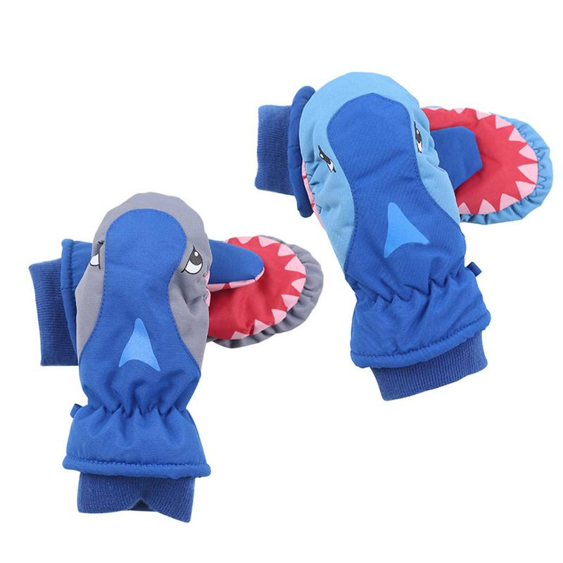 Kids Cartoon Shark Winter Gloves Unisex Warm Waterproof Outdoor Hiking Skiing Gloves Mittens