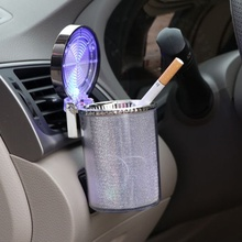 цена на Creative LED Lamp Car Ashtray with LED Light Cigarette Cigar Ash Tray Container Smoke Ash Cylinder Smoke Cup Holder Storage Cup