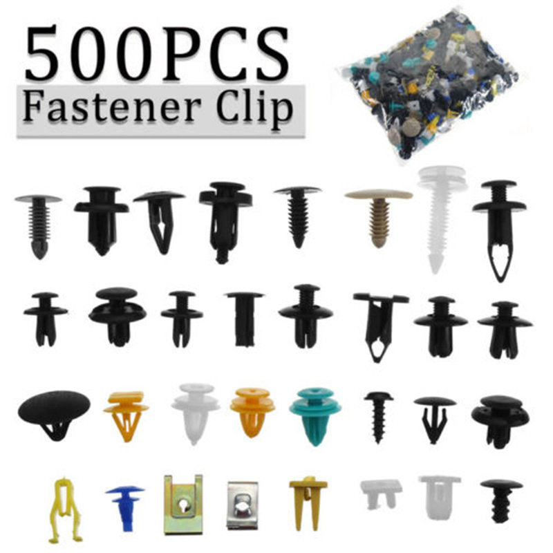 500Pc Mixed Auto Car Fastener Clip Bumper Fender Trim Plastic Rivet Door Pane W0