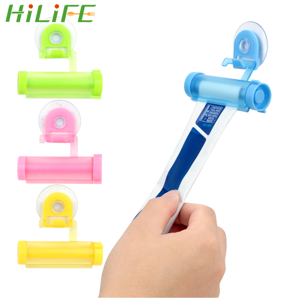 HILIFE Vacuum Sucker Hook Dispenser Squeeze Toothpaste Dispenser Facial Cleanser Squeezer Clip Tube Squeezer