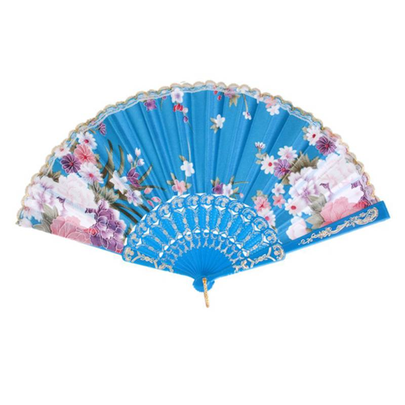 Hot Sale Spanish Floral Oriental Dance Party Wedding Folding Hand Fan Lace - Lake Blue