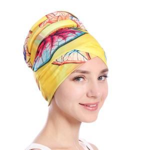 Image 2 - ファッションの女性イスラム教徒脱毛キャップフラワープリントイスラムイスラムターバンヘッドラップカバーがん化学及血キャップボンネットビーニー skullies