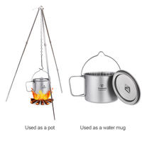 TOMSHOO Outdoor Camping Titanium Water Mug Cup Portable Titanium Pot with Lid and Foldable Handle Travel Cooking Picnic 900ml