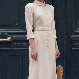 Image 2 - dressing dresses for women creamy white audrey hepburn dress peter pan collar belted button midi business dress for women office